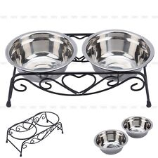 New Stainless Steel Double Dog Cat Food Water Bowls Feeder Dishes Shelf Stand