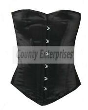 Victorian Full Steel Boned Overbust Bustier Shaper Gothic Black Satin Corset