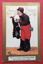 CPA. Illustrateur LAMI. Joyeuses Pâques. Œuf de Christophe Colomb. Colon. Humour