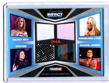 TNA Mickie James Winter A Love V Sky 2011 Impact SILVER Quad Relic Card 189 /199