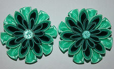 School/Party Pair of Handmade Satin Girl's Flower Hair clips,Kanzashi-mint/teal