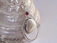 """925 Sterling Silver 0.41ct.4mmNatural Ruby Locket H2O Just Add Water +18.5""""Chain"""