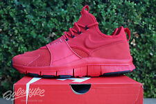NIKE FREE ACE LTHR SZ 11 UNIVERSITY RED BLACK LEATHER SUEDE 749627 600