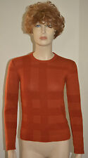 NWT BURBERRY WOMENS $550 CHECK COTTON CASHMERE SWEATER M