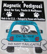 "Humor 5 1/2"" Magnet Dog Sign ""Schnauzer on Board, Do Not Tailgate"""