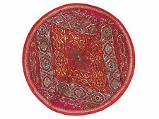 Red Round Tapestry Floor Pillow Cover Handmade Couch Bohemian Large Cushion 26""