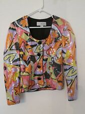 WOMEN'S A J BARI SILK SEQUIN SUIT COAT BLAZER JACKET MULTI-COLOR GEOMETRIC SZ 6