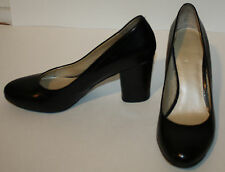 NINE WEST Black Leather Classic Pumps 9B Round Toe Covered Heels