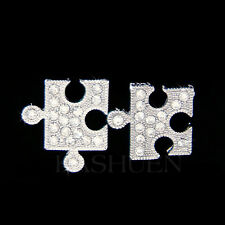 w Swarovski Crystal Jigsaw Puzzle Child Autism Cancer Awareness Earrings Jewelry