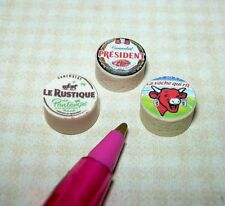 Miniature Replica French Cheese Wheels (3) for DOLLHOUSE 1/12 Scale