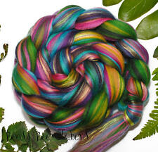 FOREST JEWELS - Merino and Silk Combed Top Wool Roving for Spinning Felting 4 oz