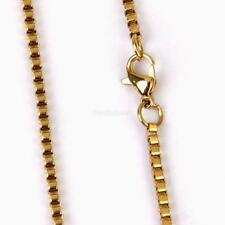 24K Gold Filled Stainless Steel Box Necklace Chain 50cm 2.5mm Jewelry