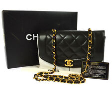 Auth CHANEL Quilted CC Single Chain Shoulder Bag Black Leather Vintage AK12650