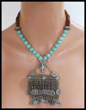 OLD AFGHANI AMULET - Mixed Jade - Afghani Pendant Statement Necklace