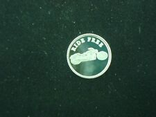 RIDE FREE ROUND COIN 1 GRAM .999 SILVER MOTORCYCLE HARLEY STURGIS GOLD WING BIKE