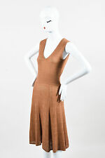Reiss Tan Knit Perforated Cut Out Sleeveless Dress SZ S