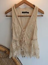 Zara Cream White Floral Embroidered Lace Tie Up Waistcoat UK M