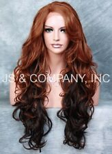 Copper Auburn Brown mix HEAT SAFE Lace Front wig Long Curly Wavy STAJS 090