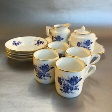 RICHARD GINORI Italy Blue Floral Porcelain Espresso Set 12 Piece Cup Saucer Tray