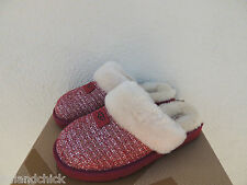 UGG BURGUNDY WINE COZY FANCY TWEED SHEEPSKIN SLIPPERS,  WOMEN US 5/ EUR 36 ~ NIB