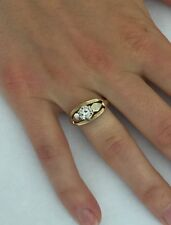 14k Yellow Gold VS2 .33ct Round Brilliant White Diamond Solitaire Ring Band