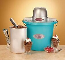 New Electric Homemade Ice Cream Maker, 4 Quart Machine, Nostalgic Bucket Freezer