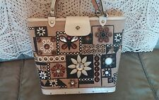 """Vtg Enid Collins of Texas Rare """"Jewel Patch"""" Jeweled Hand Bag Beige Leather Trim"""