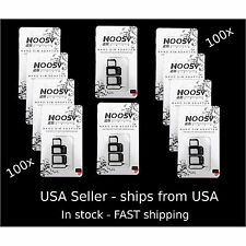 100X LOT (3 in 1) Sets NOOSY BLACK Nano Micro  SIM Card Adapters w Eject Pin