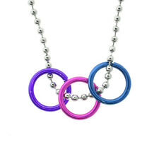 Bi Pride Freedom Rings Necklace - Bisexual LGBT Pride Chain Jewelry