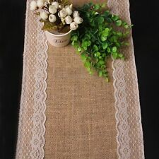176cm x 30cm Natural Brown Burlap Hessian Lace Table Runner Wedding Party Decor