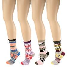 Ladies Girls 4 Pair Criss Cross Mix Crew Dress Trouser Casual Socks Colorful Set