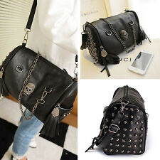 Women Lady Skull Rivet Shoulder Bag Tassels Handbag Crossbody Satchel Tote Purse