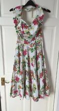 Vivien Of Holloway Vintage Floral Print Halter Neck Circle Dress Size VOH 12