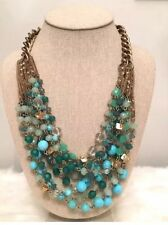 AUTHENTIC Stella & Dot Maldives Statement Gold Aqua Green Bead Necklace RETIRED