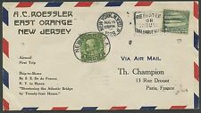 #568 ON 1ST AIRMAIL TRIP; SHIP TO SHORE S/S ILE DE FRANCE BS1375