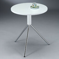 Lovely White Top Chrome Metal Legs Small Round Accent End Chair Side Table