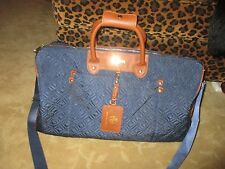 ADRIENNE VITTADINI QUILTED NYLON DUFFLE WEEKENDER BAG, NAVY & BROWN NEW