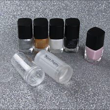Nail Art Stamping Set Stamp Polish & Peel Off Liquid Tape & Stamper Scraper Kit