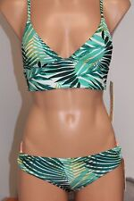 NWT Roxy Swimsuit 2pc Bikini Set Sz S Bustia Strappy Side Bikini Green WBS7