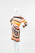 VINTAGE Emilio Pucci Peach Brown & Yellow Jersey Printed Beaded Belt Dress SZ 10