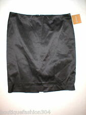 New Womens NWT Ellen Tracy Skirt 10 Black Satin Silky Office Party Work Church
