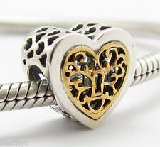 DOUBLE HEARTS VALENTINES CHARM Bead Sterling Silver.925 f European Bracelets 736