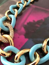 Kate Spade Turquoise Gold Crystal Curb Links Chain Of Events Necklace WBRUC333