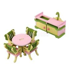 Wooden Miniature Dining Room Table Set Dolls Dollhouse Furniture Kid Toy