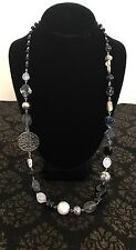 BLACK GRAY WHITE AND SILVER BEAD LONG NECKLACE SILVER FILIGREE DISC