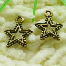 Free Ship 80 pieces Antique bronze star charms 18x15mm #1793