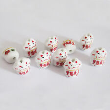 10Pcs Ceramics Porcelain Happy Lucky Word Cat Beads Finding