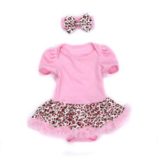 Baby Girls Headband Jumpsuit Romper Party Dress Outfit Tutu Clothes 6-9M Leopard