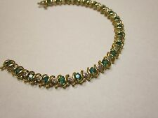 10K Yellow Gold Emerald and Diamond Tennis Bracelet 7.25 Inches