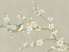 YORK Bird and Blossom Silver Gray French Farmhouse Floral Wallpaper HP0325